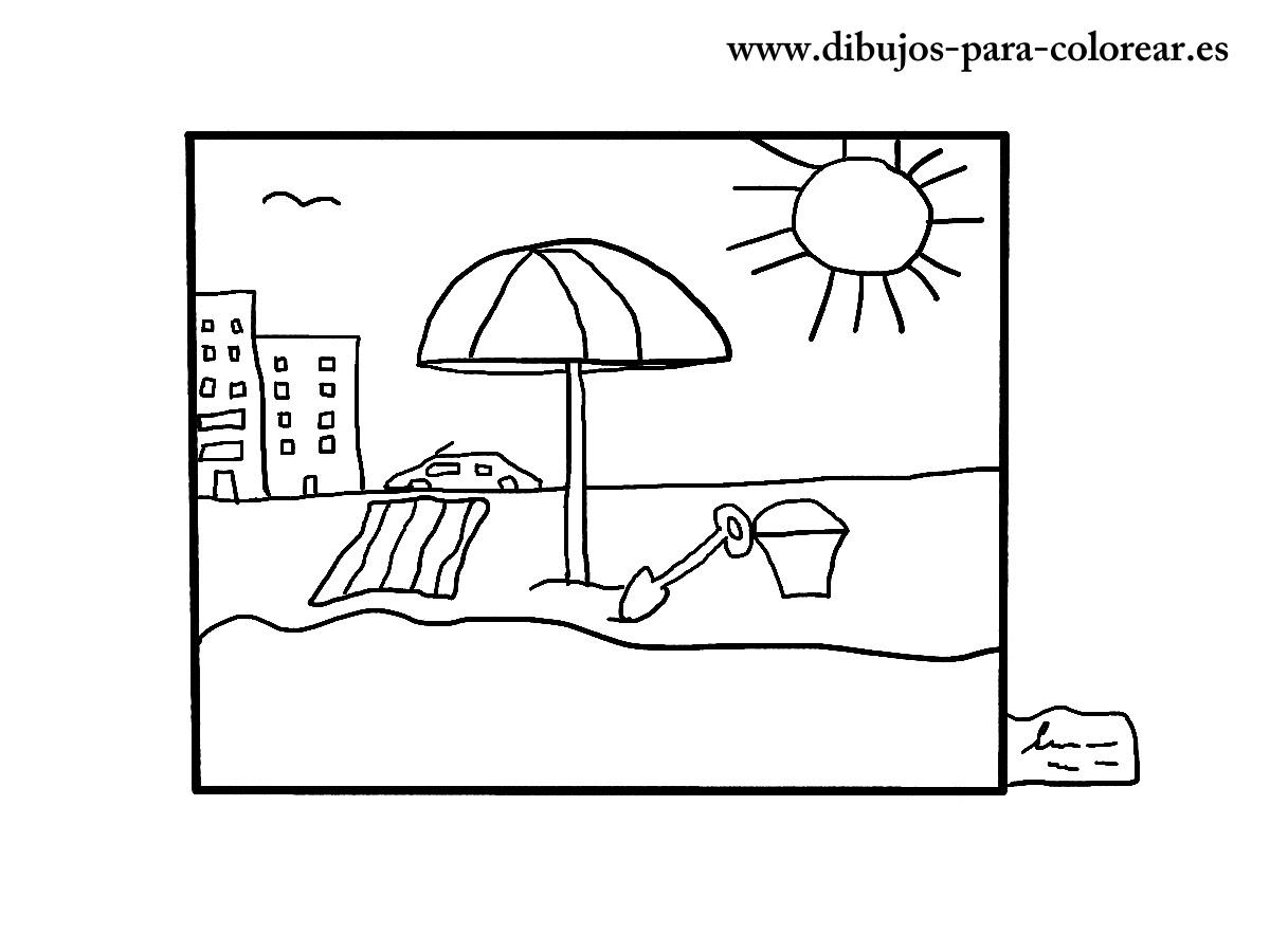El Cuadro De La Playa Dibujos Para Colorear