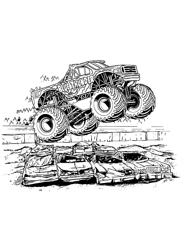Monster Jam Crushing Cars Coloring Pages | Color Luna