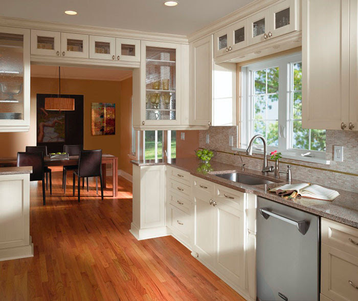 Off White Cabinets in Casual Kitchen - Kitchen Craft Cabinetry
