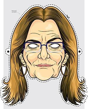 SOB FOGO Máscara de Graça Foster confeccionada a pedido de ÉPOCA. Sem poder brincar com Nestor Cerveró, foliões escolheram um novo mote para o Carnaval (Foto: Ilustração: Lovatto)