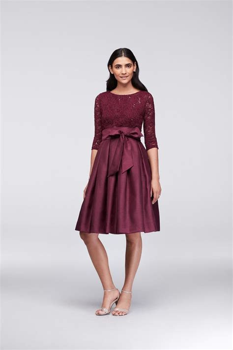 Wine Lace and Shantung Short Ball Gown Mother of the Bride