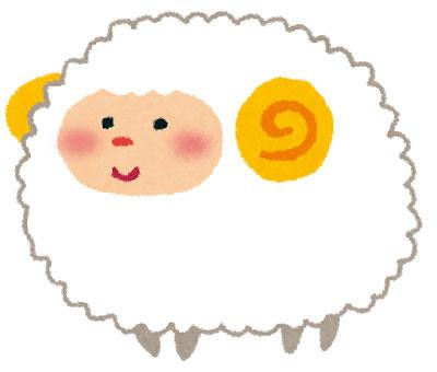 フリー素材 ふわふわの毛並みの羊を描いた可愛いイラスト年賀状など