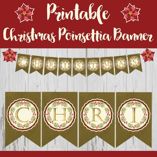 Printable Christmas Banner Christmas Poinsettia by WynnLaneDesigns