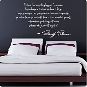 Amazon.com: WHITE Marilyn Monroe Wall Decal Decor Quote I Believe ...