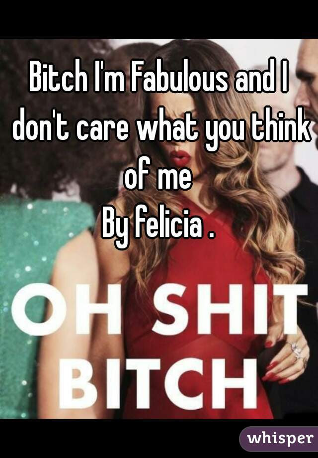 Bitch Im Fabulous And I Dont Care What You Think Of Me By Felicia