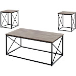 Monarch Specialties I 7950P Dark Taupe & Black Metal Table Set
