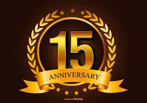 Golden 15th Anniversary Illustration   Download Free