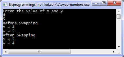 C Exercises: Swap elements using call by reference