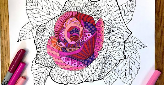 Coloring Pages for Kids - Rose Zentangle