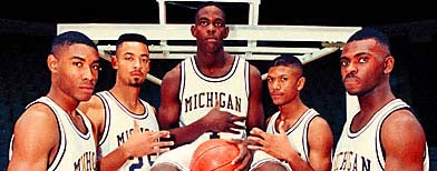 In this file photo taken November 1991, Michigan's Fab Five from left, Jimmy King, Juwan Howard, Chris Webber, Jalen Rose and Ray Jackson pose in Ann Arbor, Mich. (AP file photo)