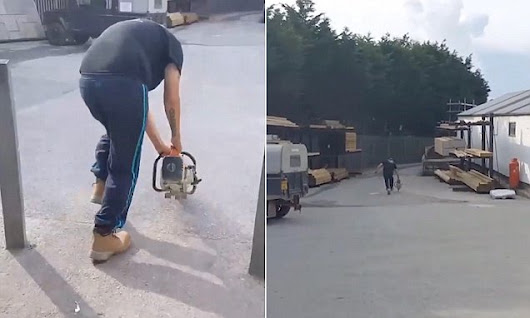 Young workman sprints across builder's yard to 'jump start' a chainsaw