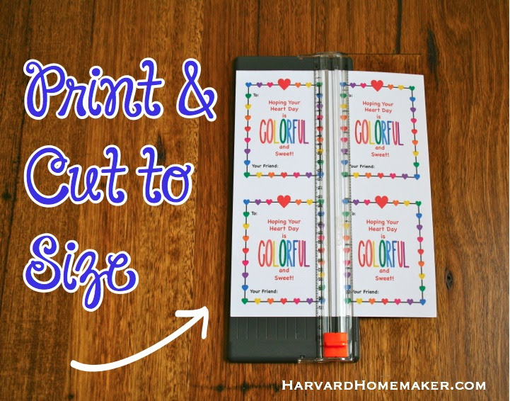 Download Melted Crayon Hearts with Free Printable Valentines - Harvard Homemaker