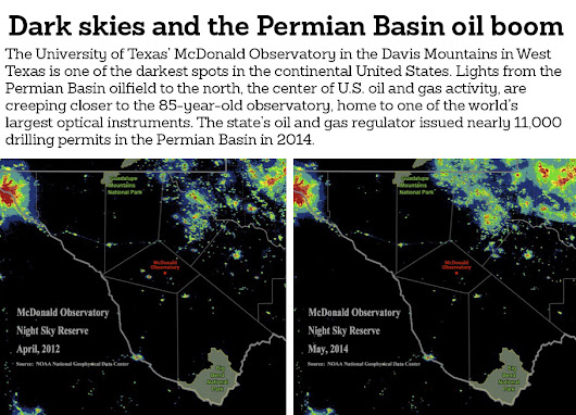 Oil field flares and lights creeping closer to the famed McDonald Observatory