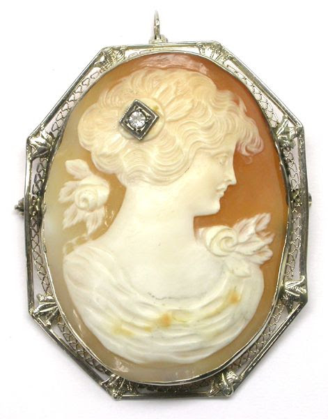 Victorian 14k White Gold Shell Cameo Pin | New York Estate Jewelry | Israel Rose