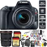 Canon EOS Rebel SL2 DSLR Camera + 18-55mm Lens + 128GB Memory Card (2X 64) + Canon 17-40mm Lens Wide Angle Combo