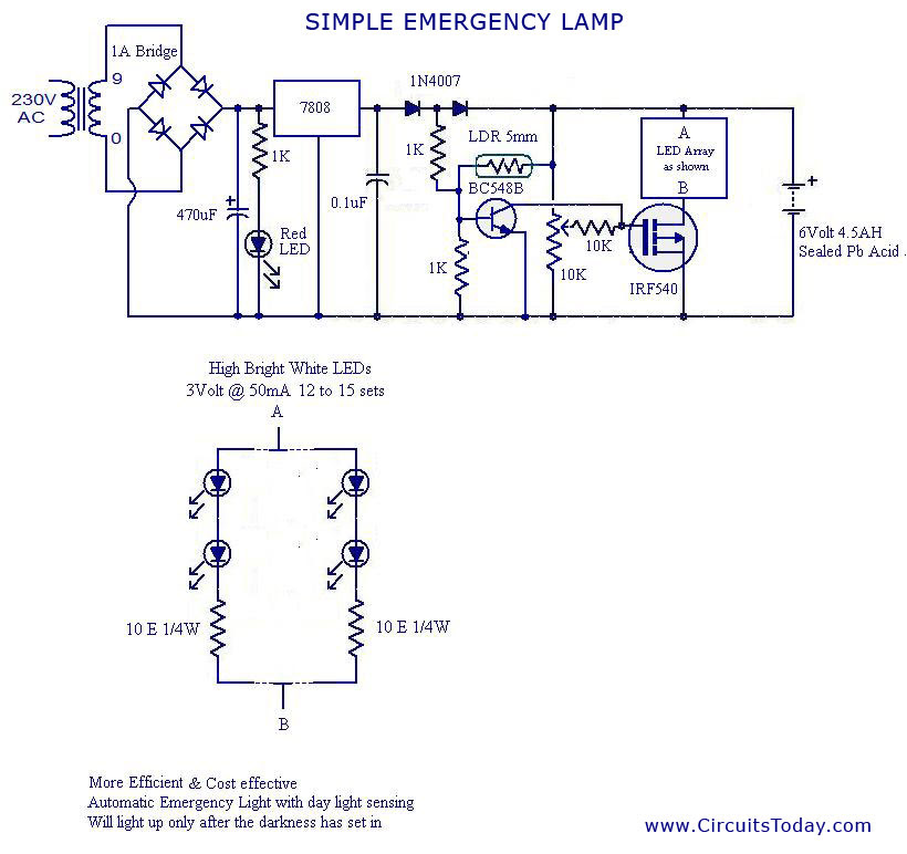 6 Volt Led Emergency Light Circuit - Circuit Diagram Images