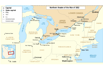 English: Main locations of the War of 1812 bet...