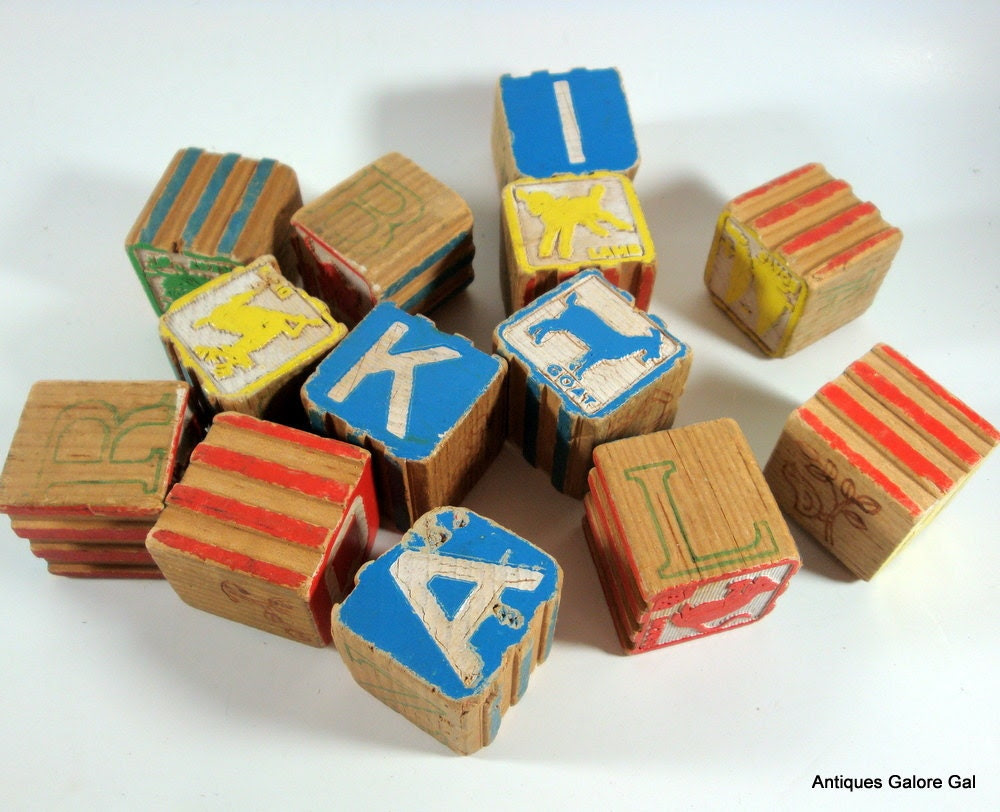 Vintage Alphabet Wood Blocks, Childrens, 1950's - AntiquesGaloreGal