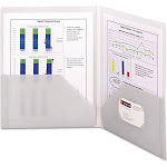 Smead Frame View Poly Two-Pocket Folder 11 x 8 1/2 Clear/Oyster 5/Pack 87706