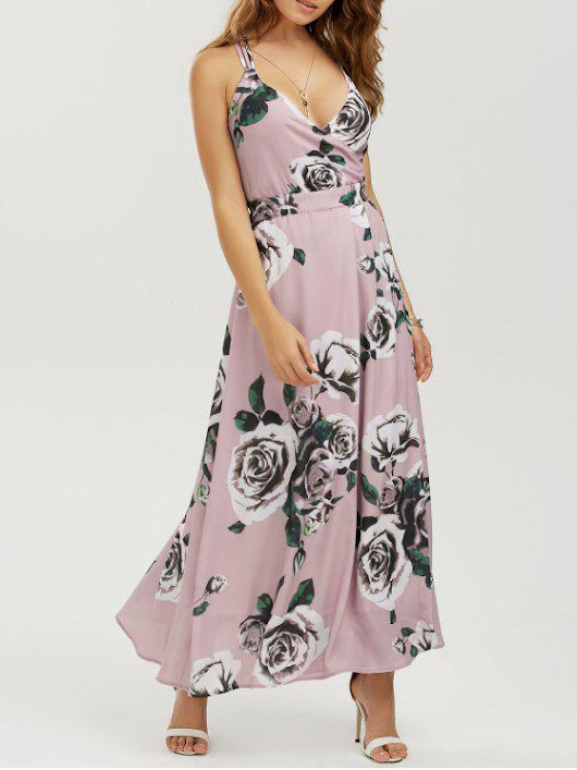 Floral Strappy Beach Maxi Dress