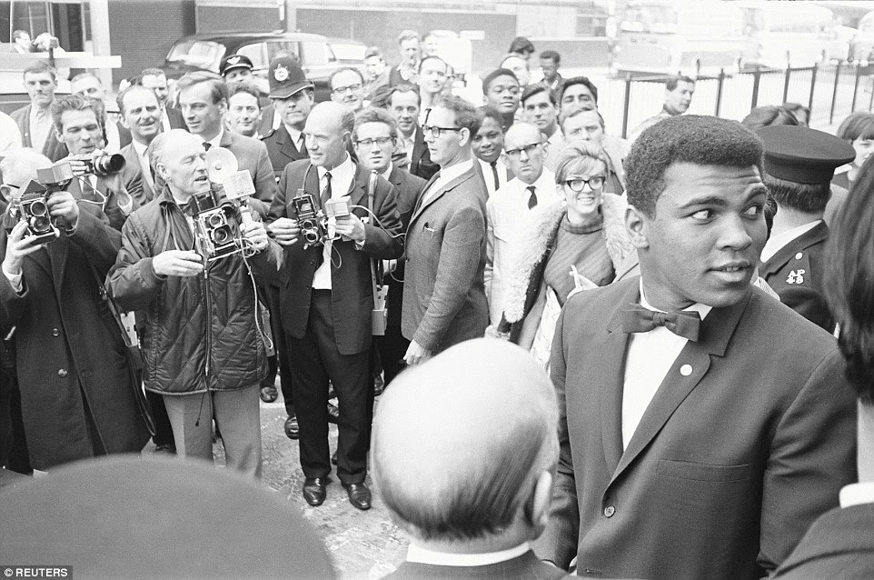 Ali is pictured at his West End hotel during his stay in London prior to the Cooper fight in 1966