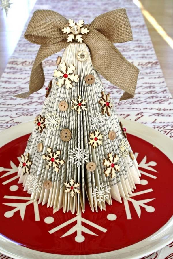 Tie a ribbon to the door knob or place a few mini Christmas trees