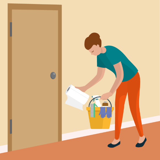 illustration of woman cleaning