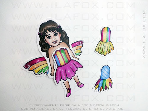 lembrancinha, imã, original, festa infantil, Barbie arco íris, by ila fox