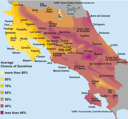 Sunshine Hours and Temperatures Map for Every Region of Costa Rica