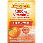 Emergen-C Vitamin C 1000mg Powder (10 Count, Super Orange Flavor), With Antioxidants, B Vitamins And Electrolytes, Dietary Supplement Fizzy Drink Mix,
