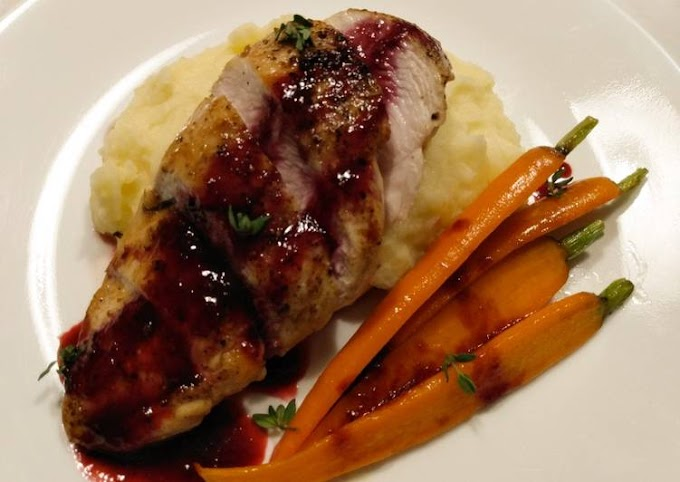 Recipe: Yummy Pan-seared chicken with blackberry gastrique