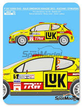 Calcas 1/24 Reji Model - Peugeot 207 S2000 Evo Luk - Nº 5 - Kuchar + Dymurski - Rally Swidnicki Krause 2013 para kit de Belkits BEL-001