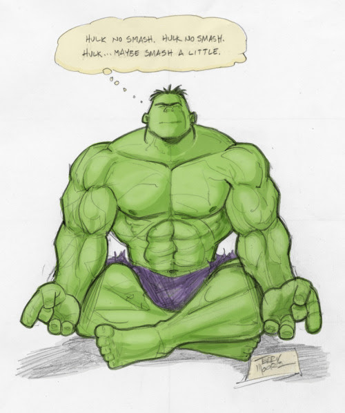 Terry Moore showing a more meditative Hulk