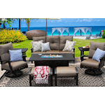 Outdoor Patio 8PC SET 34X58 Inch Rectangle Fire Pit