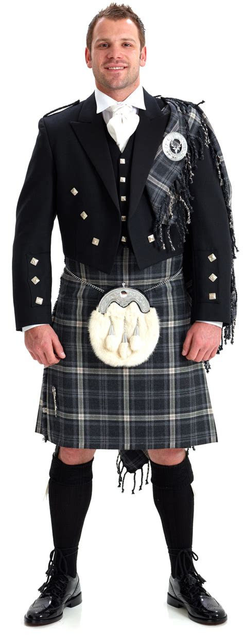 crisp white shirt  white tie  sharp kilts