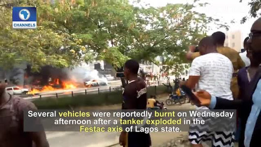 20 cars burnt, one injured as fuel tanker explodes in Lagos