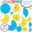 Fraction Circles Set: Clip Art Graphics for Teachers {Blue & Yellow + Blackline} - The Hazel Owl