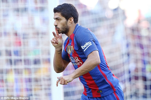 Luis Suarez netted the home side's third goal before half-time as Barca ran riot