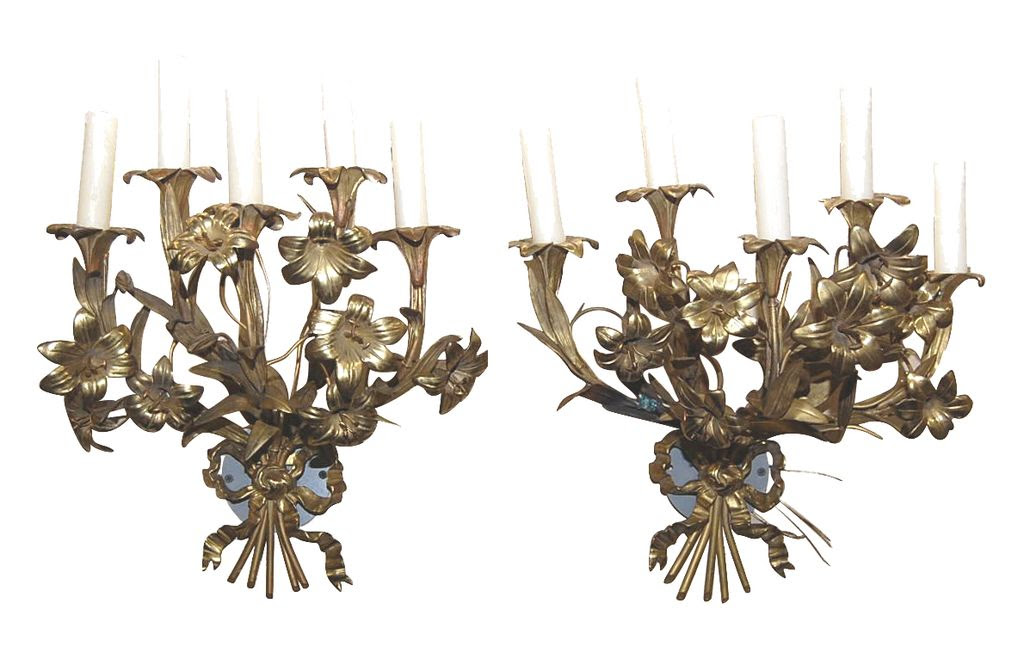Pair Floral Gilt Brass Sconce from legacy on Ruby Lane