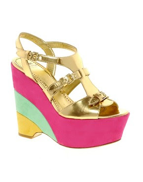 Image 1 of Moschino Cheap and Chic Sterlizia Multicoloured Wedge Sandals