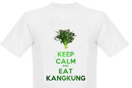"A T-shirt with the words ""Keep calm and eat kangkung"" and an image of the vegetable"