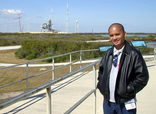 Posing in front of Launch Complex 39B as it continues to be modified for NASA's Constellation Program.
