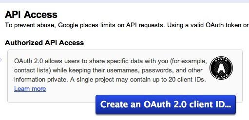 Google API Console API Access