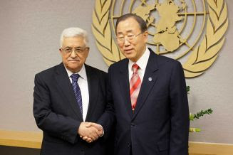 Palestinian Authority President Mahmoud Abbas and Ban Ki-moon after a vote by the United General Assembly to recognize Palestine as a non-member state. The country has been occupied since 1947. by Pan-African News Wire File Photos