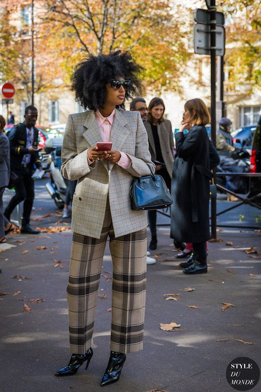 Le Fashion Blog Julia Sarr Jamois Pfw Checked Blazer Plaid Trousers Double Mixed Pattern Via Style Du Monde