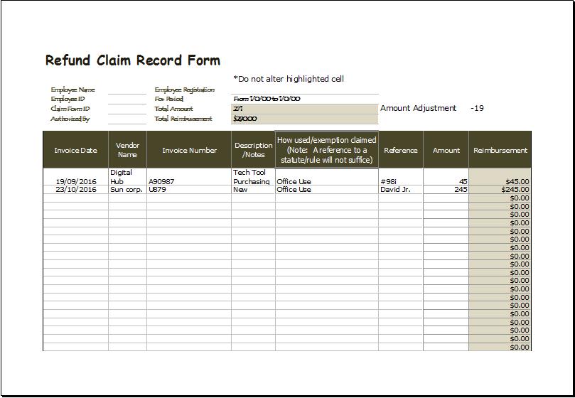 Refund claim record form 1