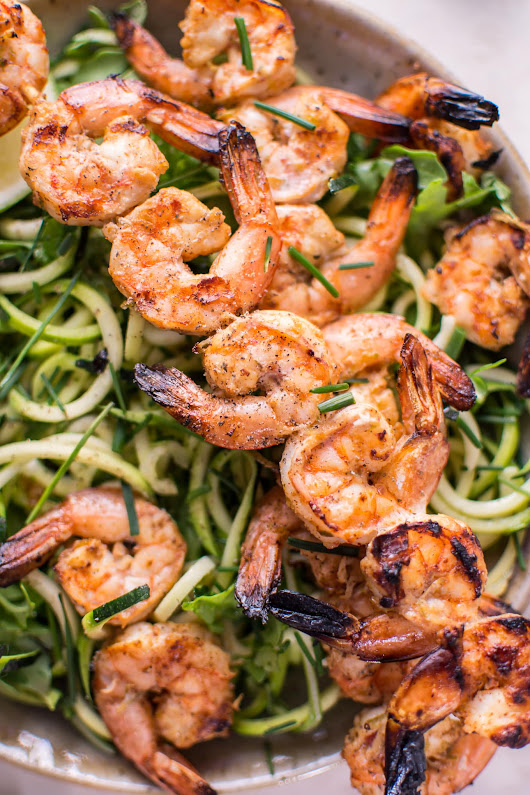 Grilled Chili Lime Shrimp Zoodles • Salt & Lavender