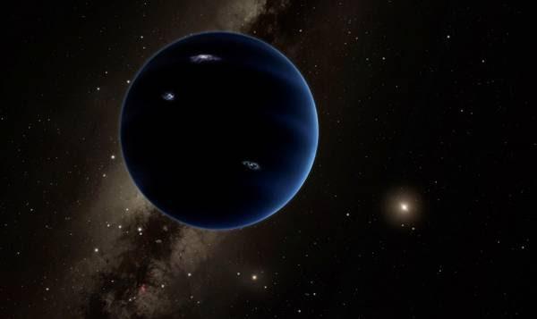 Rappresentazione artistica dell'ipotetico Pianeta Nove ai confini del Sistema Soalre (fonte: Caltech/R. Hurt)