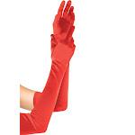 Leg Avenue Long Satin Gloves, Red