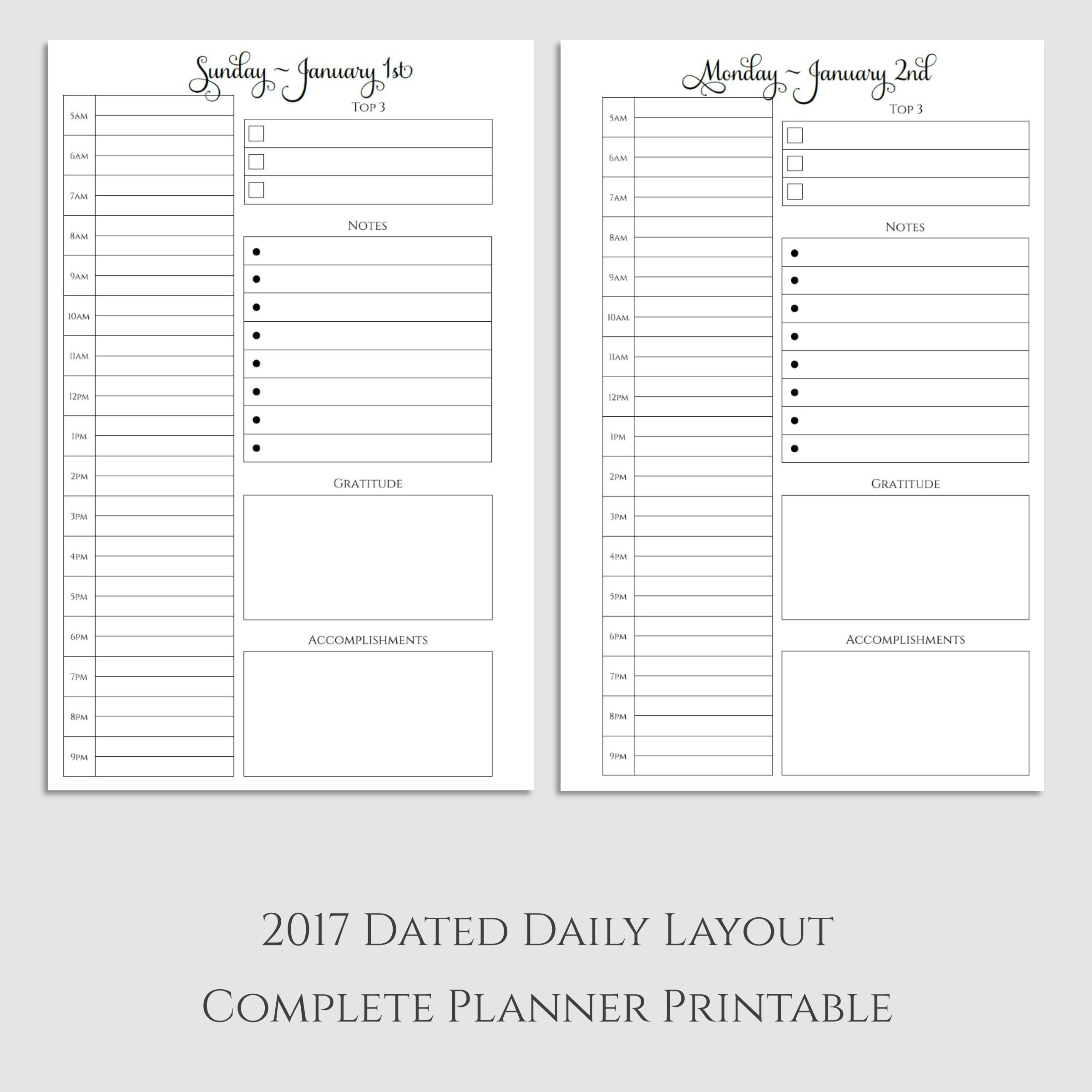 Complete 2017 Daily Planner Printable with Gratitude ...